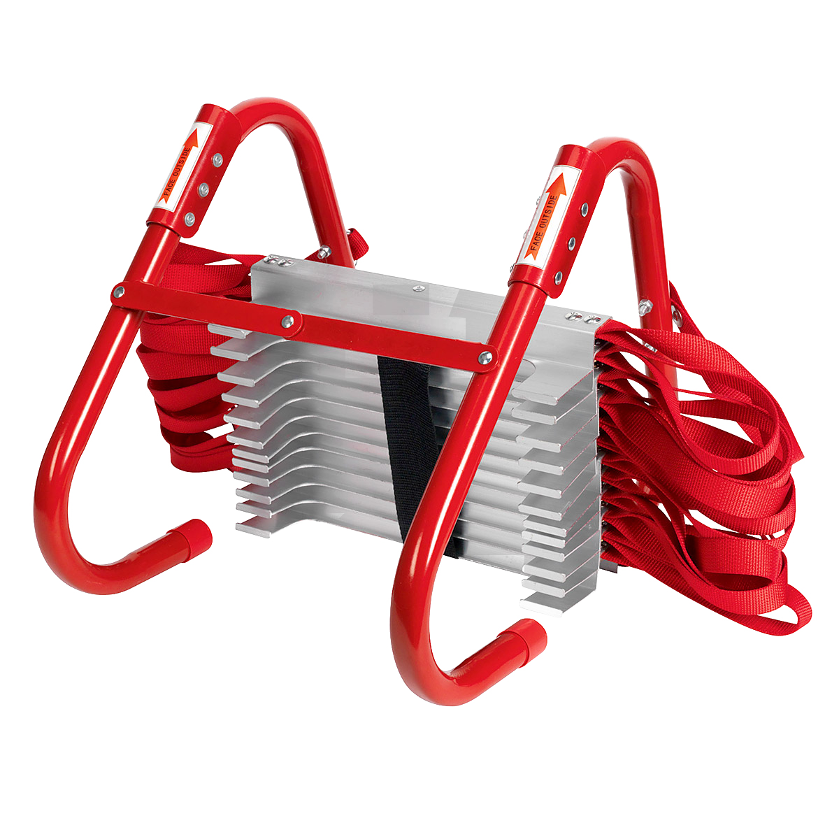 red safety home ladder